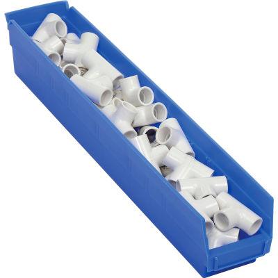 "Global Industrial™ Plastic Nesting Storage Shelf Bin 4-1/8""W x 23-5/8""D x 4""H Blue - Pkg Qty 12"