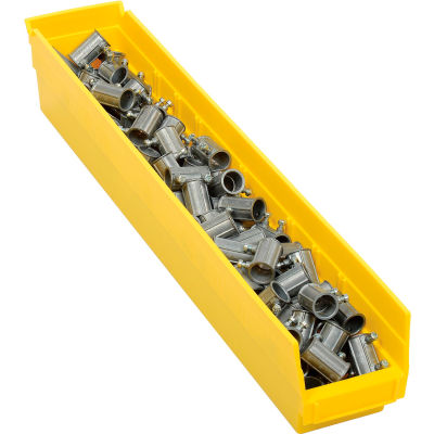 "Global Industrial™ Plastic Nesting Storage Shelf Bin 4-1/8""W x 23-5/8""D x 4""H Yellow - Pkg Qty 12"