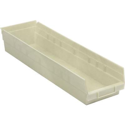 "Global Industrial™ Plastic Nesting Storage Shelf Bin 6-5/8""W x 23-5/8""D x 4""H Beige - Pkg Qty 6"