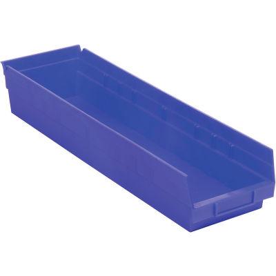 "Global Industrial™ Plastic Nesting Storage Shelf Bin 6-5/8""W x 23-5/8""D x 4""H Blue - Pkg Qty 6"