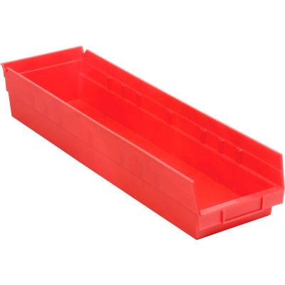 "Global Industrial™ Plastic Nesting Storage Shelf Bin 6-5/8""W x 23-5/8""D x 4""H Red - Pkg Qty 6"