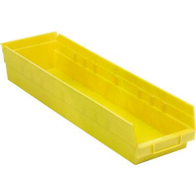 "Global Industrial™ Plastic Nesting Storage Shelf Bin 6-5/8""W x 23-5/8""D x 4""H Yellow - Pkg Qty 6"