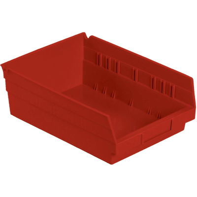 "Global Industrial™ Plastic Nesting Storage Shelf Bin 8-3/8""W x 11-5/8""D x 4""H Red - Pkg Qty 12"