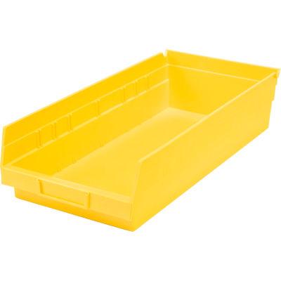 "Global Industrial™ Plastic Nesting Storage Shelf Bin 8-3/8""W x 17-7/8""D x 4""H Yellow - Pkg Qty 12"