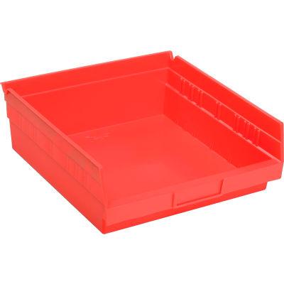 "Global Industrial™ Plastic Nesting Storage Shelf Bin 11-1/8""W x 11-5/8""D x 4""H Red - Pkg Qty 12"