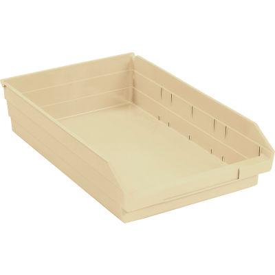 "Global Industrial™ Plastic Nesting Storage Shelf Bin 11-1/8""W x 17-7/8""D x 4""H Beige - Pkg Qty 12"