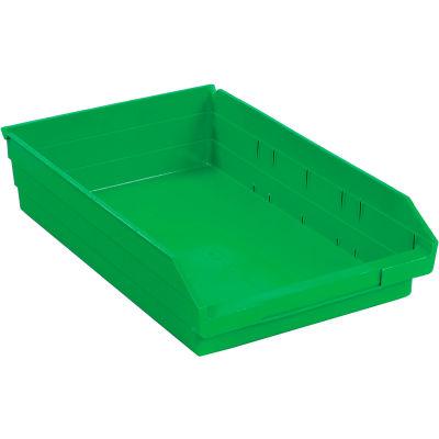 "Global Industrial™ Plastic Nesting Storage Shelf Bin 11-1/8""W x 17-7/8""D x 4""H Green - Pkg Qty 12"