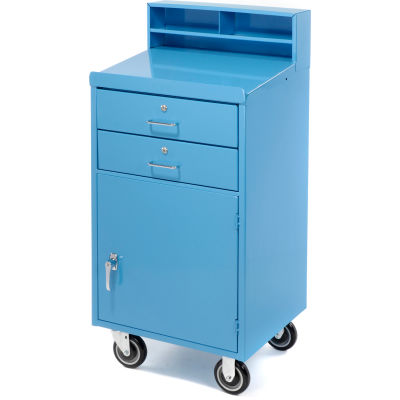 """Pucel Mobile Cabinet Shop Desk FED-2023 with 2 Locking Drawers 23""""W x 20""""D x 51""""H - Blue"""