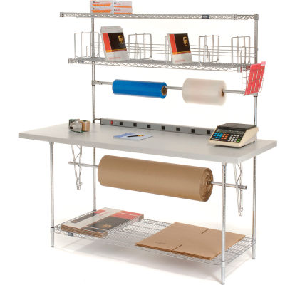 Global Industrial™ Packing Workbench & Riser with 3 Shelves