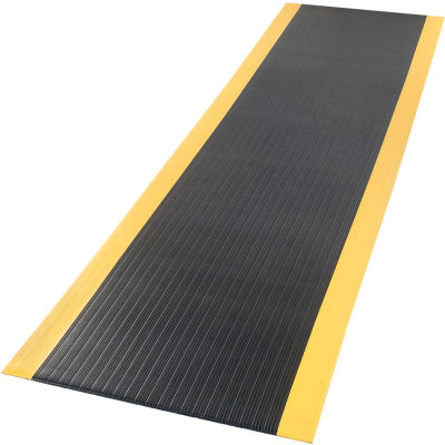 """Apache Mills Soft Foot™ Ribbed Surface Mat 3/8"""" Thick 2' x Up to 60' Black/Yellow Border"""