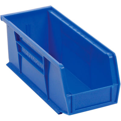 "Akro-Mils® AkroBin® Plastic Stack & Hang Bin, 4-1/8""W x 10-7/8""D x 4""H, Blue - Pkg Qty 12"