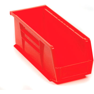 "Akro-Mils® AkroBin® Plastic Stack & Hang Bin, 4-1/8""W x 10-7/8""D x 4""H, Red - Pkg Qty 12"