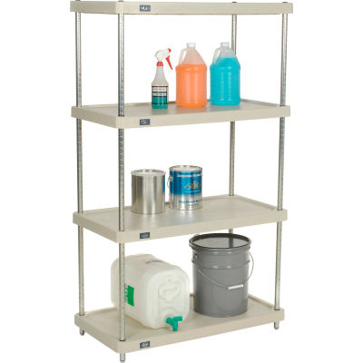 "Nexel® Solid Plastic Shelving Unit - Clear Epoxy Posts - 36""W x 18""D x 63""H - 4 Shelf"