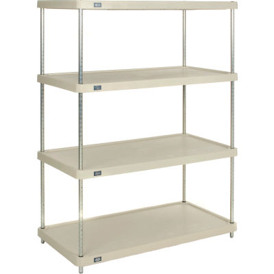 "Nexel® Solid Plastic Shelving Unit - Clear Epoxy Posts - 48""W x 24""D x 63""H - 4 Shelf"
