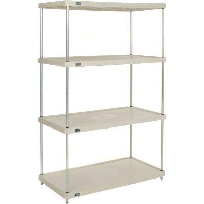 "Nexel® Solid Plastic Shelving Unit - Clear Epoxy Posts - 48""W x 24""D x 86"" H - 4 Shelf"