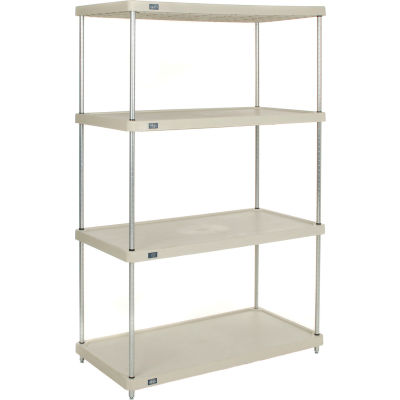 "Nexel® Solid Plastic Shelving Unit - Clear Epoxy Posts - 36""W x 18""D x 74""H - 4 Shelf"