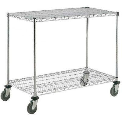 Nexel® Adjustable Chrome Wire Shelf Cart 60x18 2 Shelves 800 Lb. Capacity