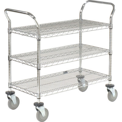 "Nexel® Utility Cart, 3 Shelf, Chrome, 48""L, x 24""W, x 39""H, Polyurethane Casters"