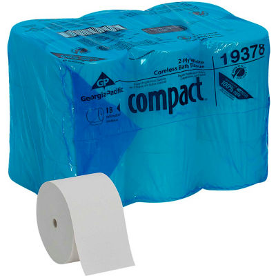GP Compact blanc haute fréquence haute capacité 2 plis papier hygiénique, 1500 feuilles/rouleau, 18 rouleaux/caisse - 19378
