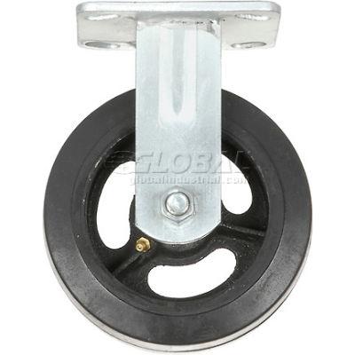 "Global Industrial™ Heavy Duty Rigid Plate Caster 6"" Mold-on Rubber Wheel 500 lb. Capacity"