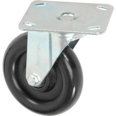 "Global Industrial™ Medium Duty Rigid Plate Caster 5"" Polyurethane Wheel 250 lb. Capacity"