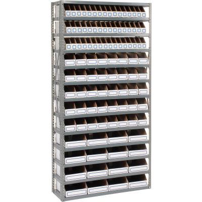 Global Industrial™ Steel Open Shelving with 104 Corrugated Shelf Bins 13 Shelves - 36x18x73