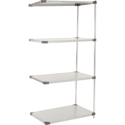 """Nexel® Stainless Steel Solid Shelving Add-On 36""""W x 18""""D x 63""""H"""