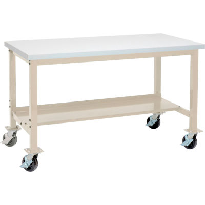 "Global Industrial™ 60""W x 36""D Mobile Lab Workbench - Plastic Laminate Square Edge - Tan"