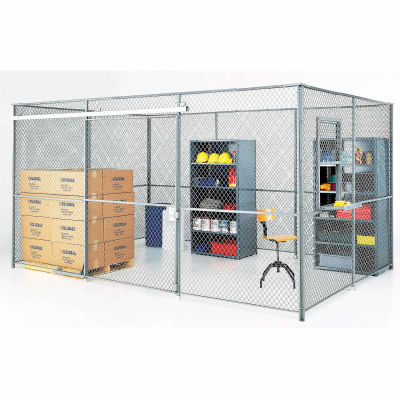 Global Industrial™ Wire Mesh Partition Security Room 10x10x8 without Roof - 2 Sides w/ Window