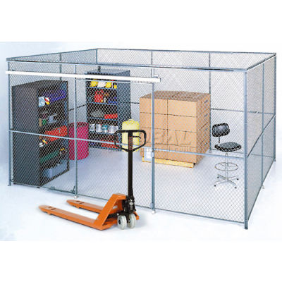 Global Industrial™ Wire Mesh Partition Security Room 20x20x10 with Roof - 2 Sides