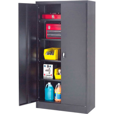 "Global Industrial™ Steel Storage Cabinet, Recessed Handle, 36""Wx18""Dx72""H, Black, Unassembled"
