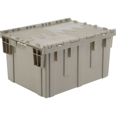 Global Industrial™ Plastic Storage Container - Attached Lid DC2820-15 28-1/8x20-3/4x15-5/8 Gray