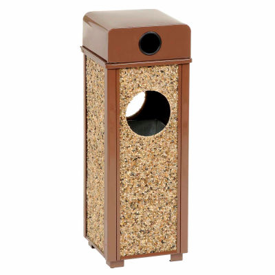 "Global Industrial™ Stone Panel Trash Weather Urn, Brown 2-1/2 Gallon, 10-1/4"" Square X 28""H"