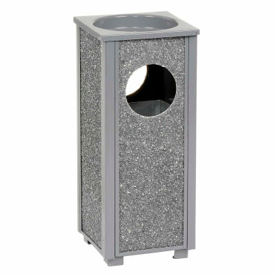 """Global Industrial™ Stone Panel Trash Sand Urn, Gray 2-1/2 Gallon, 10-1/4"""" Square X 24""""H"""