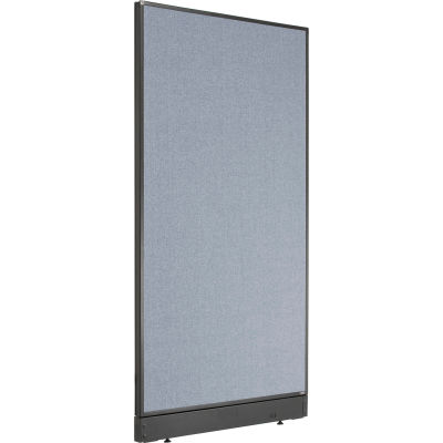 """Interion® Non-Electric Office Partition Panel with Raceway, 36-1/4""""W x 64""""H, Blue"""