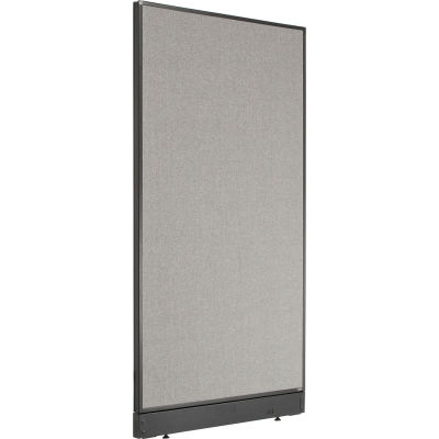 """Interion® Non-Electric Office Partition Panel with Raceway, 36-1/4""""W x 64""""H, Gray"""