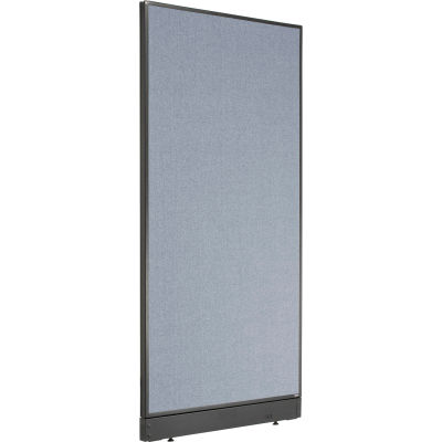 """Interion® Non-Electric Office Partition Panel with Raceway, 36-1/4""""W x 76""""H, Blue"""
