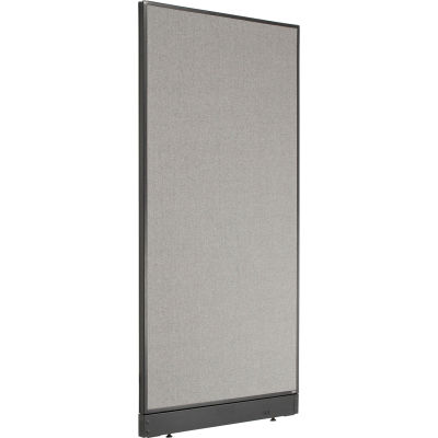 """Interion® Non-Electric Office Partition Panel with Raceway, 36-1/4""""W x 76""""H, Gray"""