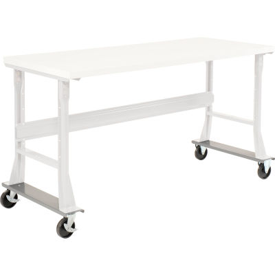 """Global Industrial™ Caster Base Set for C-Channel Open Leg 48 to 72""""W x 30 & 36""""D Workbench Gray"""