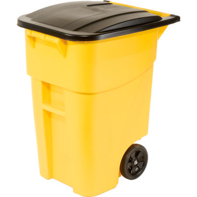 Rubbermaid 9W27 Brute® Rollout 50 Gallon Large Mobile Container - Yellow with Lid