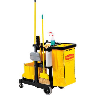 Chariot de nettoyage et d'entretien noirRubbermaid® avec sac en vinyle de 25 gallons 6173-88