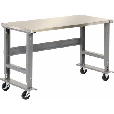Global Industrial™ 48x30 Mobile Adjustable Height C-Channel Leg Workbench - Stainless Steel