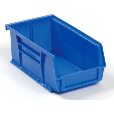 "Global Industrial™ Plastic Stack & Hang Bin, 4-1/8""W x 7-3/8""D x 3""H, Blue - Pkg Qty 24"