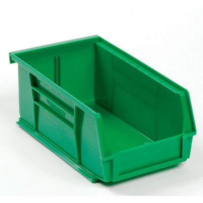 "Global Industrial™ Plastic Stack & Hang Bin, 4-1/8""W x 7-3/8""D x 3""H, Green - Pkg Qty 24"