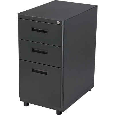 "Interion® 3 Drawer Pedestal Box File Cabinet, 16""W x 20""D x 29""H, Black"