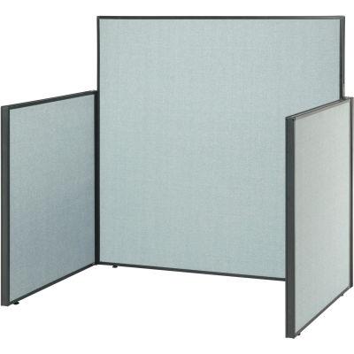 "Interion® Pre-Configured Office Cubicle - 5'W x 4'D x 60""H - Starter Kit - Blue"