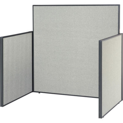 """Interion® Pre-Configured Office Cubicle - 4'W x 4'D x 60""""H - Starter Kit - Gray"""