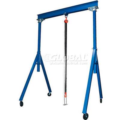 "Adjustable Height Steel Gantry Crane, 10'W x 8'7""-14'1""H, 8000 Lb. Capacity"