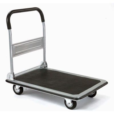 Global Industrial™ Folding Platform Truck with 28 x 18 Solid Steel Deck 400 Lb. Capacity