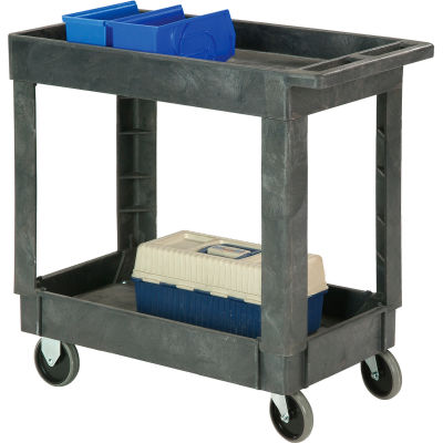 "Global Industrial™ Plastic 2 Shelf Tray Service & Utility Cart 34x17 5"" Casters"